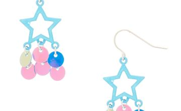 "Go to Product: 2"" Holographic Sequin Star Drop Earrings"