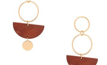 "Go to Product: Gold 2"" Geometric Wooden Drop Earrings - Brown"
