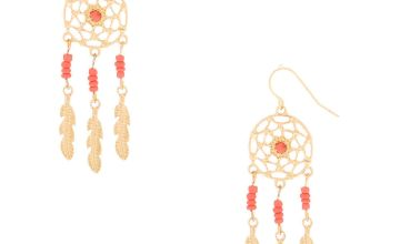 "Go to Product: Gold 2"" Beaded Dreamcatcher Drop Earrings - Coral"