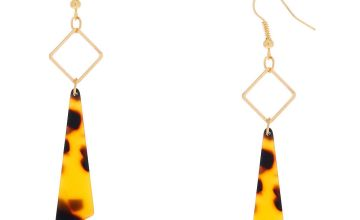 "Go to Product: Gold 2.5"" Resin Tortoiseshell Drop Earrings - Brown"