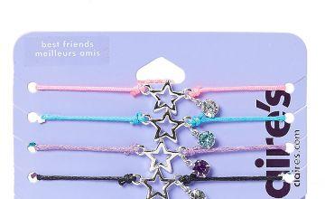 Go to Product: Best Friends Silver Tone Open Star Charm Yarn Bracelets Set of 5