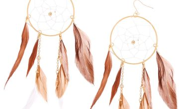 "Go to Product: Gold 5"" Dreamcatcher Earrings - Brown"