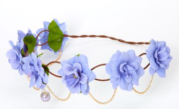 Go to Product: Gold Chain Flower Vine Headwrap - Dusty Blue