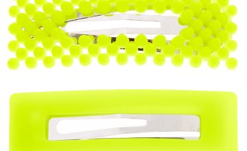 Go to Product: Beaded Matte Rectangle Snap Hair Clips - Neon Yellow, 2 Pack