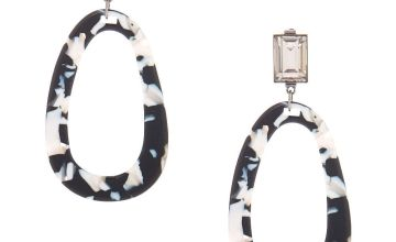 "Go to Product: 3"" Black & White Resin Mod Drop Earrings"