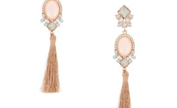 "Go to Product: Rose Gold 4"" Vintage Tassel Drop Earrings - Pink"