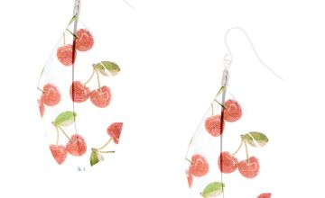 """Go to Product: Silver 2"""" Cherry Feather Drop Earrings - Red"""