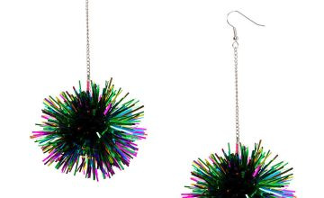 "Go to Product: Silver 4"" Rainbow Tinsel Pom Drop Earrings"