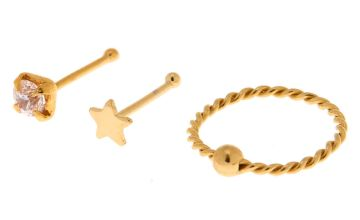 Go to Product: Gold Sterling Silver 22G Crystal Star Stud & Hoop Nose Rings - 3 Pack