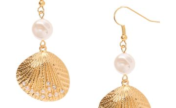 "Go to Product: Gold 2"" Pearl Shell Drop Earrings"