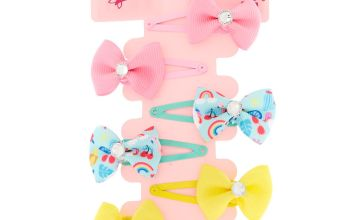 Go to Product: Claire's Club Gem Bow Snap Hair Clips - 6 Pack