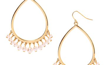 "Go to Product: Gold 2.5"" Pearl Chandelier Drop Earrings"