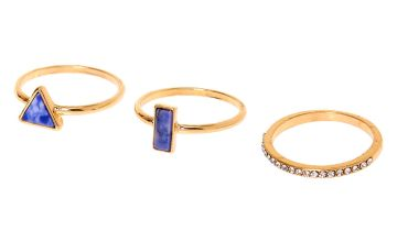 Go to Product: Gold Geometric Marble Stone Rings - Blue, 3 Pack