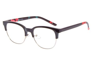 Go to Product: Rose Browline Clear Lens Frames - Black