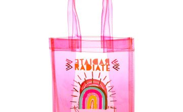 Go to Product: Radiate Positivity Rainbow Transparent Reusable Tote Bag - Pink