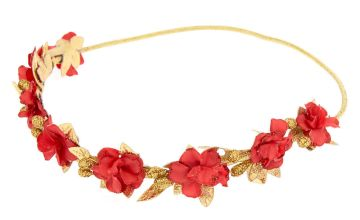 Go to Product: Gold Metallic Flower Crown Headwrap - Red