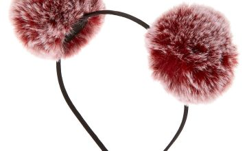 Go to Product: Ombre Pom Pom Ears Headband - Burgundy