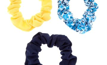 Go to Product: Claire's Club Yellow & Blue Floral Hair Scrunchies - 3 Pack