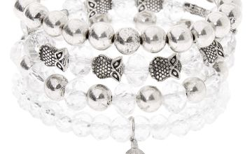 Go to Product: Silver Owl Feather Beaded Stretch Bracelets - Clear, 4 Pack