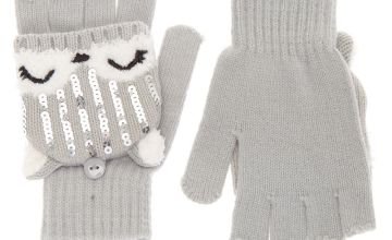 Go to Product: Trixie the Fox Fingerless Gloves With Mitten Flap - Grey