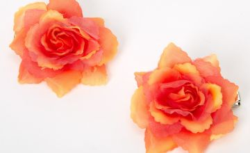 Go to Product: Mini Rose Hair Clips - Red Orange, 2 Pack