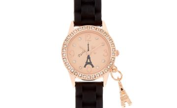 Go to Product: Rose Gold Paris Rubber Watch - Black