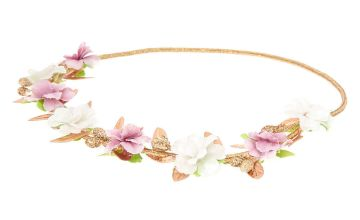 Go to Product: Gold Metallic Flower Crown Headwrap - Lilac