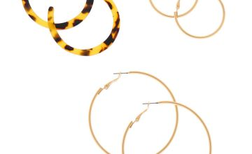 Go to Product: Gold Graduated Resin Tortoiseshell Hoop Earrings - Brown, 3 Pack