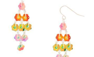"Go to Product: 4"" Rainbow Petal Drop Earrings"