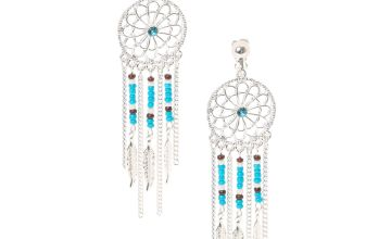 Go to Product: Turquoise and Silver Dreamcatcher Drop Clip On Earrings