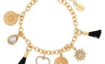 Go to Product: Gold Sunrise Tassel Charm Bracelet - Black