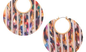Go to Product: Gold 55MM Resin Striped Thick Hoop Earrings