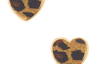 Go to Product: Gold Glitter Leopard Heart Stud Earrings