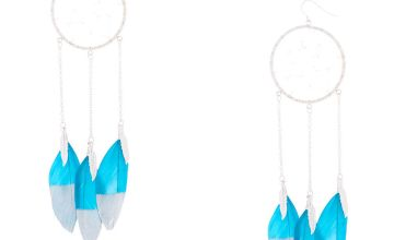 "Go to Product: Silver 5"" Dreamcatcher Drop Earrings - Teal"
