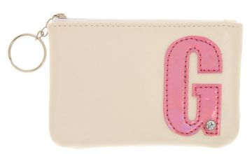 Go to Product: White Faux Leather Pink Initial Coin Purse - G