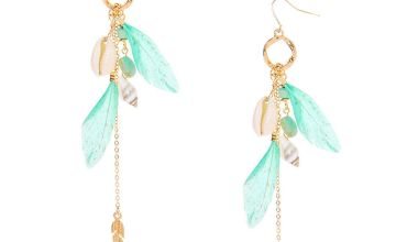 "Go to Product: Gold 4.5"" Shell Feather Drop Earrings - Turquoise"
