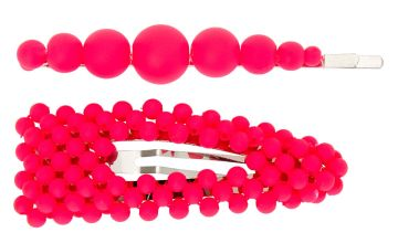 Go to Product: Matte Beaded Hair Pin & Snap Clip - Neon Pink, 2 Pack