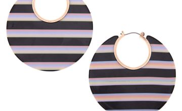 Go to Product: Rose Gold 55MM Striped Thick Hoop Earrings - Black