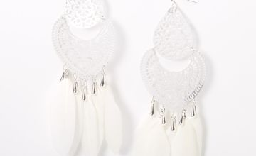 "Go to Product: Silver 6"" Filigree Feather Drop Earrings - White"
