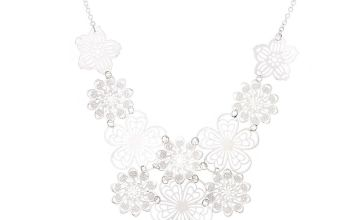 Go to Product: Silver Filigree Flower Statement Necklace