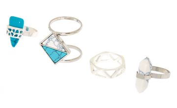Go to Product: Silver Marble Rings - Turquoise, 4 Pack