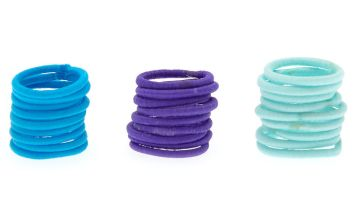 Go to Product: 25 Pack Mini Blue Tone Fabric Hair Ties