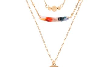 Go to Product: Gold Resin Painted Bib Multi Strand Necklace