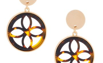"Go to Product: Gold 1.5"" Wooden Tortoiseshell Drop Earrings - Brown"