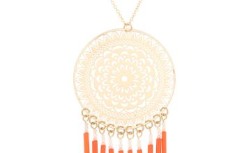 Go to Product: Gold Filigree Long Pendant Necklace - Coral