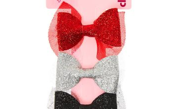 Go to Product: Claire's Club Glitter Hair Bow Clips - 3 Pack