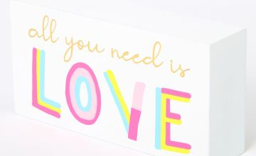 Go to Product: All You Need Is Love Word Block - White