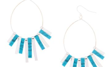 "Go to Product: Silver 2.5"" Marble Bar Drop Earrings - Turquoise"