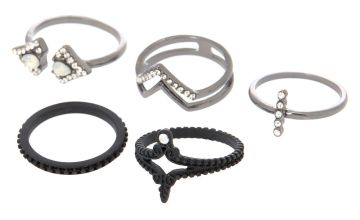 Go to Product: Hematite Gothic Rings - Black, 5 Pack