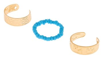 Go to Product: Gold Boho Elephant Toe Rings - Turquoise, 3 Pack